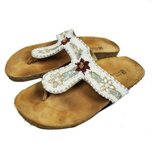White Mountain beaded sandals